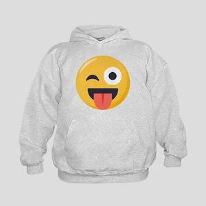 Winky Tongue Emoji Kids Hoodie