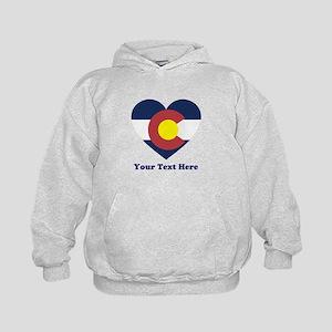 Colorado Flag Heart Personalized Kids Hoodie