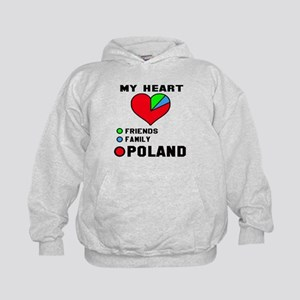 My Heart Friends, Family and Poland Kids Hoodie
