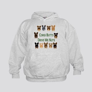 Both Corgi Butts (Plain Bckgn Kids Hoodie