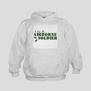 I Love My Airborne Soldier Kids Hoodie