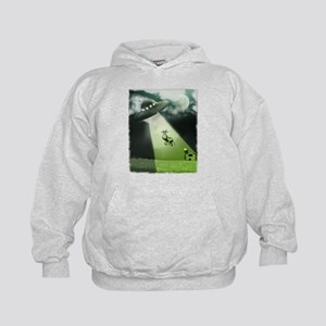 Comical Cow Abduction Kids Hoodie