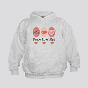 Peace Love Pigs Kids Hoodie