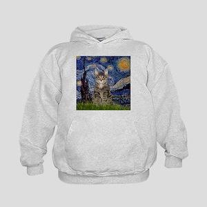 Starry Night & Tiger Cat Kids Hoodie