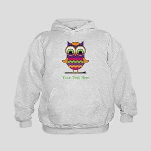 Customizable Whimsical Owl Kids Hoodie