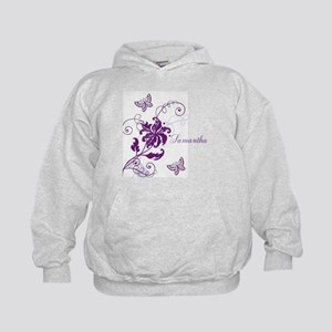 Purple Butterflies and Vines Kids Hoodie