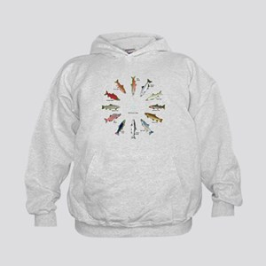 North American Salmon and Trouts Clocks Hoodie