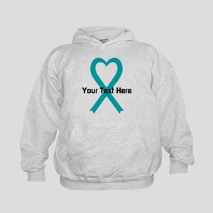 Personalized Teal Ribbon Heart Hoodie