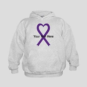 Personalized Purple Ribbon Heart Kids Hoodie