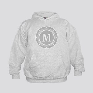 Gray | White Swirls Monogram Kids Hoodie