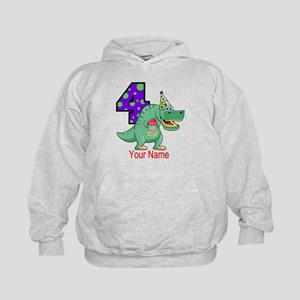 T-Rex 4th Birthday Custom Kids Hoodie
