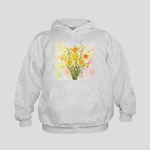 Watercolor Daffodils Yellow Spring Flo Kids Hoodie