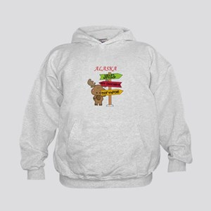 Alaska Moose What Way To The North Pol Kids Hoodie
