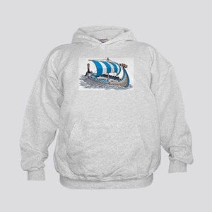 Blue Viking Ship Hoodie