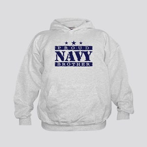 Proud Navy Brother Kids Hoodie