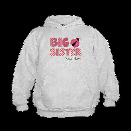 Big Sister Ladybug Pink Kids Hoodie