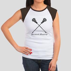 Personalized Lacrosse Sticks Women's Cap Sleeve T-