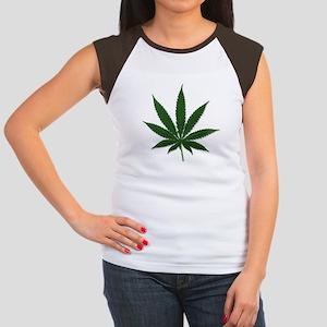 Marijuana Pot Leaf (Front) Women's Cap Sleeve T-Sh