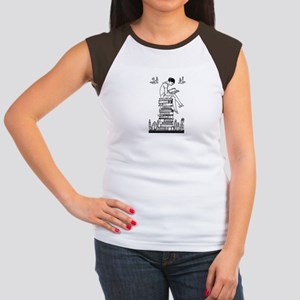 Reading Girl atop books Women's Cap Sleeve T-Shirt
