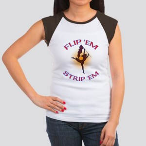 Flip 'Em Strip 'Em Junior's Cap Sleeve T-Shirt