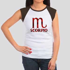 Red Scorpio Symbol Junior's Cap Sleeve T-Shirt