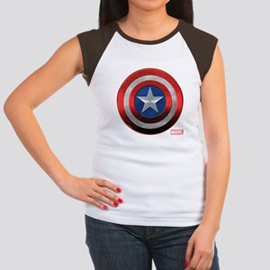Captain America Grunge Junior's Cap Sleeve T-Shirt