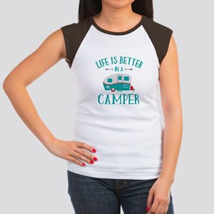 Life's Better Camper Junior's Cap Sleeve T-Shirt