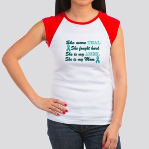 She is Mom Angel Teal Women's Cap Sleeve T-Shirt