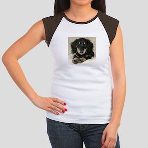 Long Haired Puppy Women's Cap Sleeve T-Shirt