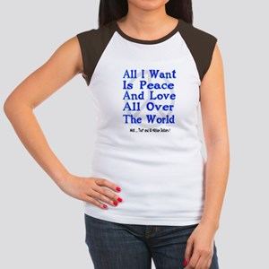 Peace, Love & Money Women's Cap Sleeve T-Shirt