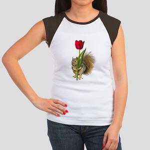Squirrel Red Tulip Women's Cap Sleeve T-Shirt