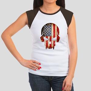 American Flag Skull Women's Cap Sleeve T-Shirt