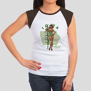 Faded Iowa Pinup Women's Cap Sleeve T-Shirt