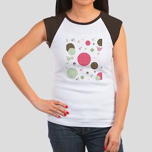 Gingham Polka Dots Dais Women's Cap Sleeve T-Shirt