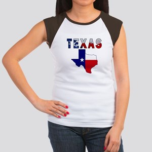 Flag Map With Texas Women's Cap Sleeve T-Shirt