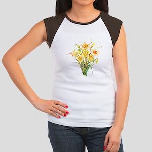 Watercolor Daffodils S Junior's Cap Sleeve T-Shirt