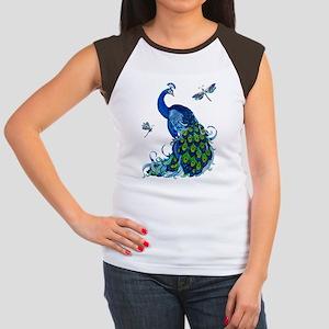 Blue Peacock and Dragon Women's Cap Sleeve T-Shirt
