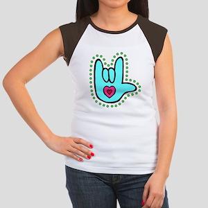 Aqua Bold Love Hand Women's Cap Sleeve T-Shirt