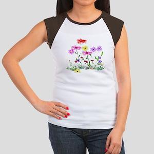 Flower Bunch Junior's Cap Sleeve T-Shirt