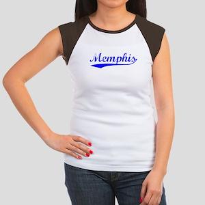 Vintage Memphis (Blue) Women's Cap Sleeve T-Shirt