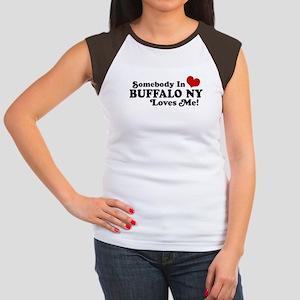 Somebody In Buffalo NY Loves Me Women's Cap Sleeve