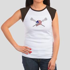 American Flag Lacrosse Helmet Women's Cap Sleeve T