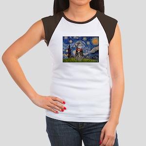 Starry Night / Tiger Cat Women's Cap Sleeve T-Shir