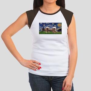Starry / 2 Affenpinschers Women's Cap Sleeve T-Shi