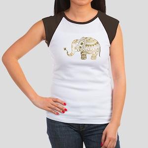 Gold tones cute tribal elephant illustrati T-Shirt