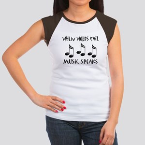 Words Fail Music Speaks Women's Cap Sleeve T-Shirt