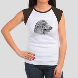 Afghan Hound Pencil Drawing Women's Cap Sleeve T-S