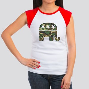 Republican Camo Elephant Women's Cap Sleeve T-