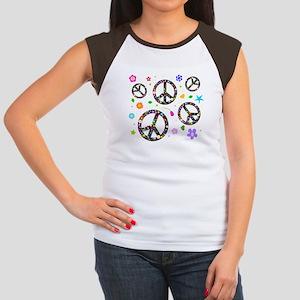Peace symbols and flowers pat Women's Cap Sleeve T