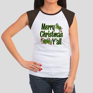 MERRY CHRISTMAS Y'ALL Junior's Cap Sleeve T-Shirt